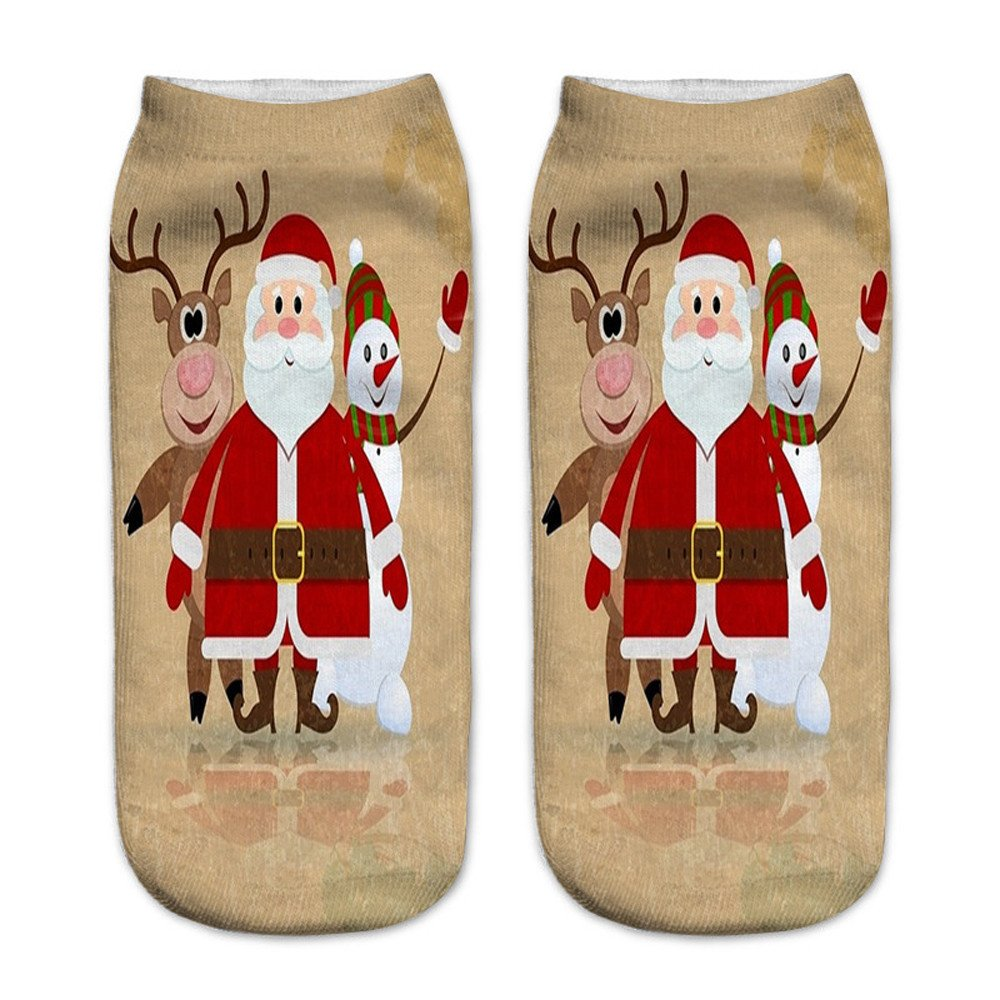 Charberry Clearance Unisex Santa Claus 3D Printed Christmas Casual Socks Low Cut Ankle Socks (G)
