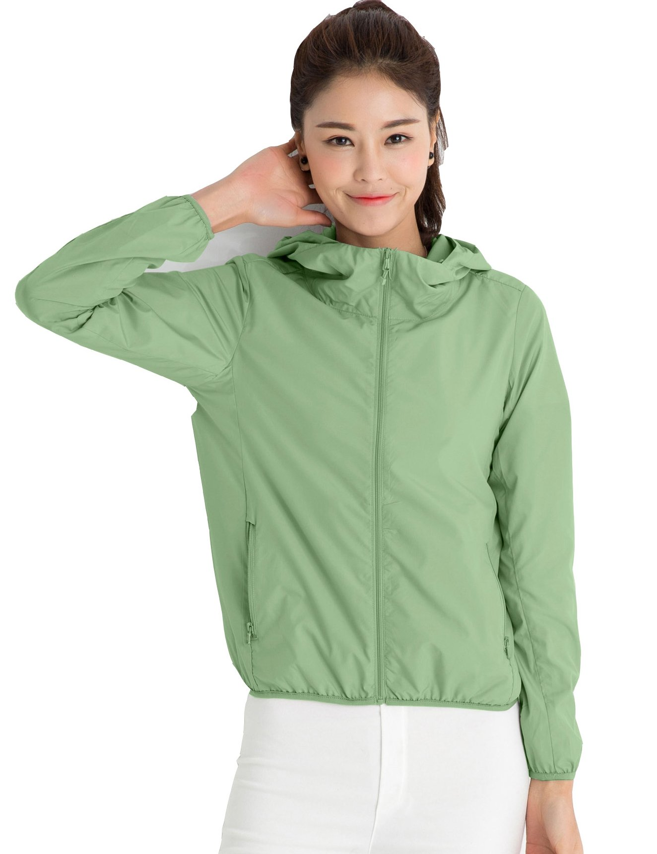 CHERRY CHICK Women's Ultralight Packable UV Protection Summer Jacket with Hood (US Small/Chinese L, Pea Green)