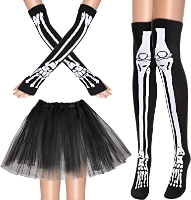 Boao Womens Costume Accessories Set Includes Tutu Skirt Long Socks Gloves for Party Accessory