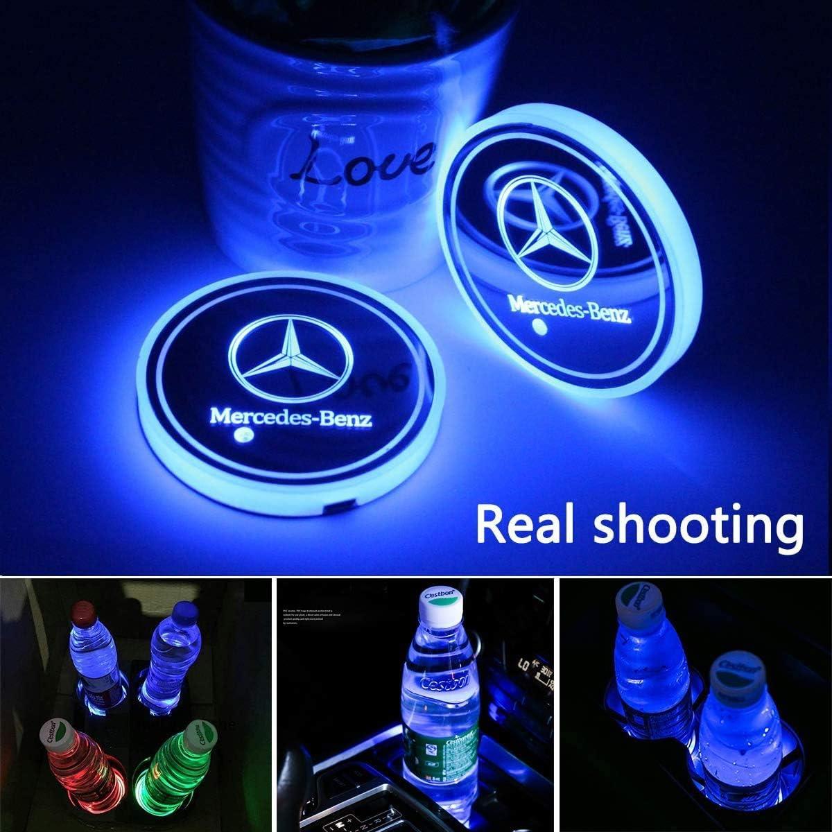 License plate frameX 2pcs LED Cup Holder Lights for Mercedes-Benz