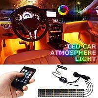 Car Interior Lights, LETOUR 4pcs 72 LED Car LED Strip Lights RGB Multi Color Music, Waterproof Underdash Lighting Kits…