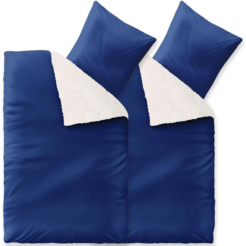 CelinaTex Bettwäsche 4tlg 2X 155x220 Sherpa Lammfell-Optik Winter Bettgarnitur 6000296 Fantasia Sandy blau