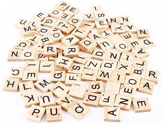 100 fichas de madera para Scrabble marca Bomien para la fabricación de joyas artesanales.: Amazon.es: Hogar
