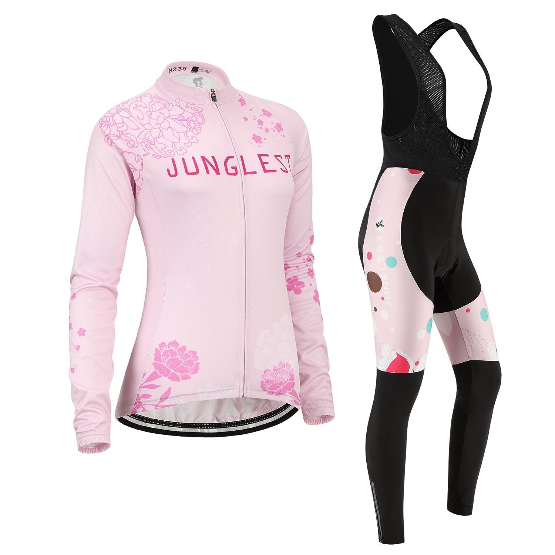JNL Radtrikot Radhose Damen Langarm Jersey(S5XL,Option Trägerhose,3D Sitzpolster) N235