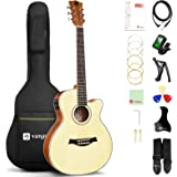 Acoustic Electric Guitar Bundle, 36 Inch 3/4 Size Acoustic-electric Cutaway Guitar Spruce Top for Beginners Adults Teens, by