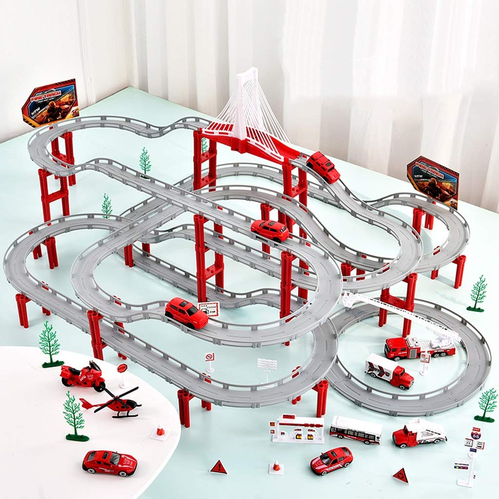 LINGLING-Track Track Toy Small Train Runway Racing Children's Toys Boy Gifts - Fire Truck Set (Size : S)
