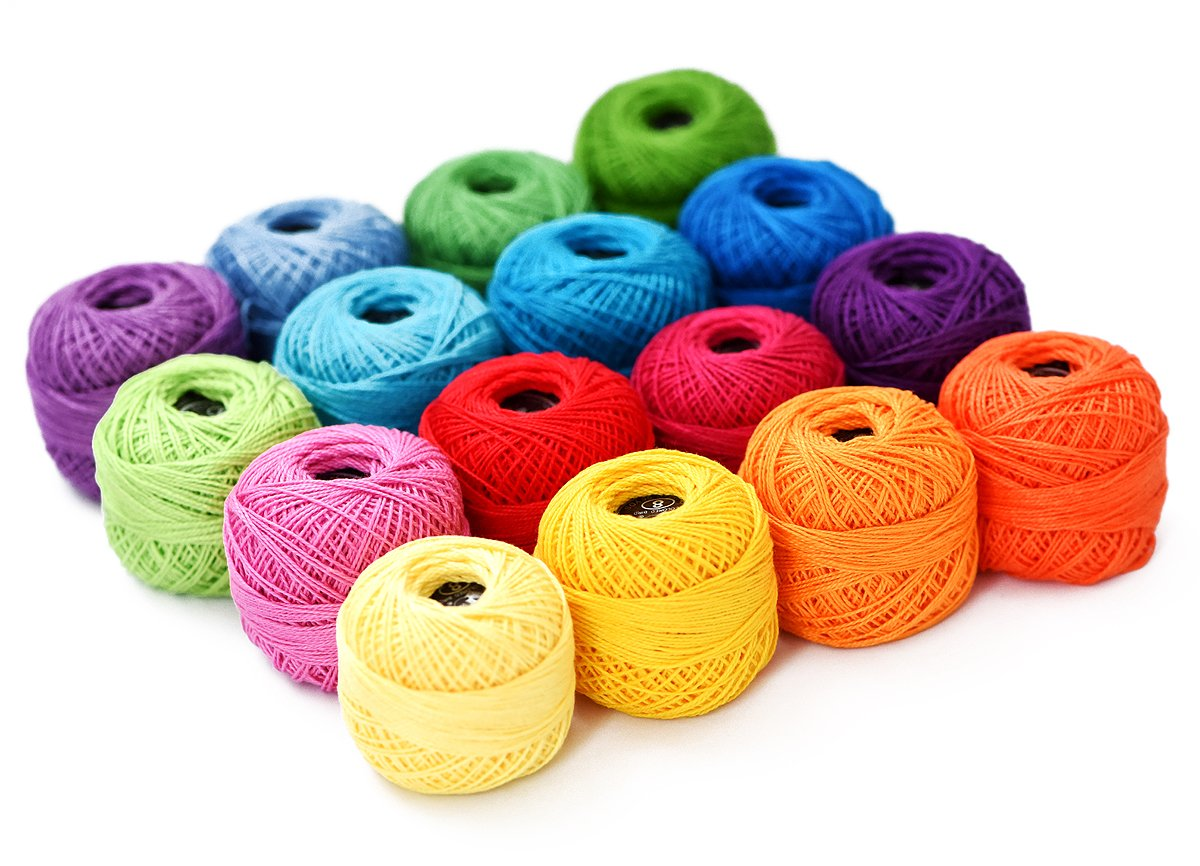 Thread Floss Sewing Soft 10g Cotton Balls Rainbow Colors of Size 8 Perle pearl Cotton Threads for Crochet Hardanger Cross Stitch Needlepoint Hand Embroidery All Different Colors (Suit 8) by LE PAON (Image #5)