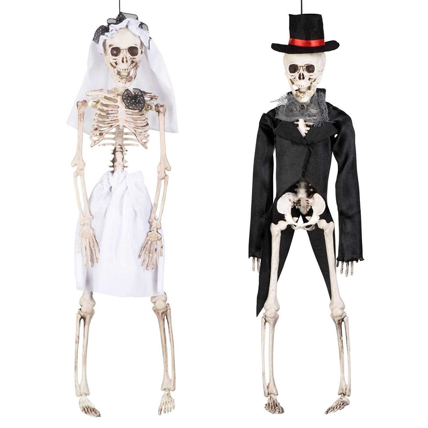 43cm Bride Groom Skeleton Hanging Halloween Decoration Couple Wedding Day of the Dead Plastic Man and Woman Prop Model Shop Front Decor Fancy Dress VIP