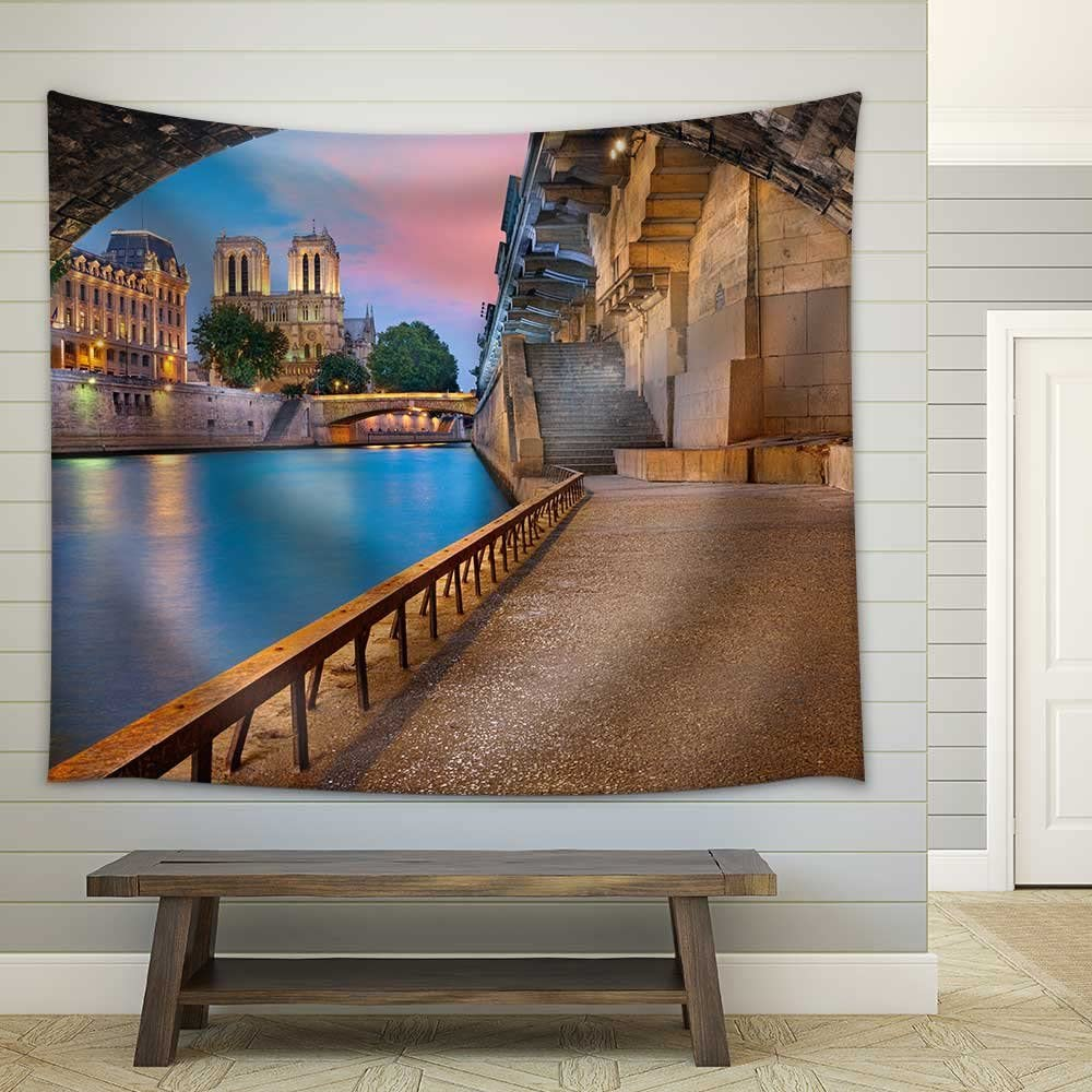 wall26 - Paris. Image of The Notre-Dame Cathedral and Riverside of Seine River in Paris, France - Fabric Wall Tapestry Home Decor - 68x80 inches