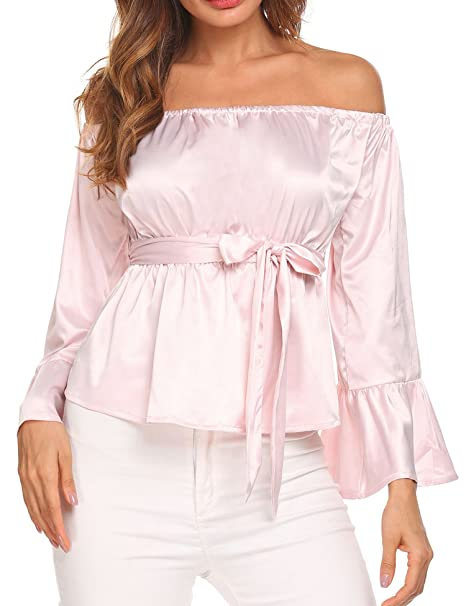 f5b38fab48cc9 UNibelle Women's Sexy Off Shoulder Ruche Blouse Long Bell Sleeve Elegant  Tops with Belt