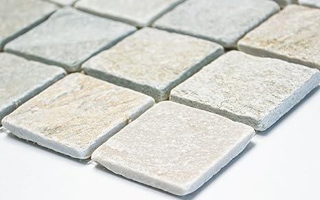 Rete mosaico mosaico piastrelle parete quarzite, colore beige/grigio ...