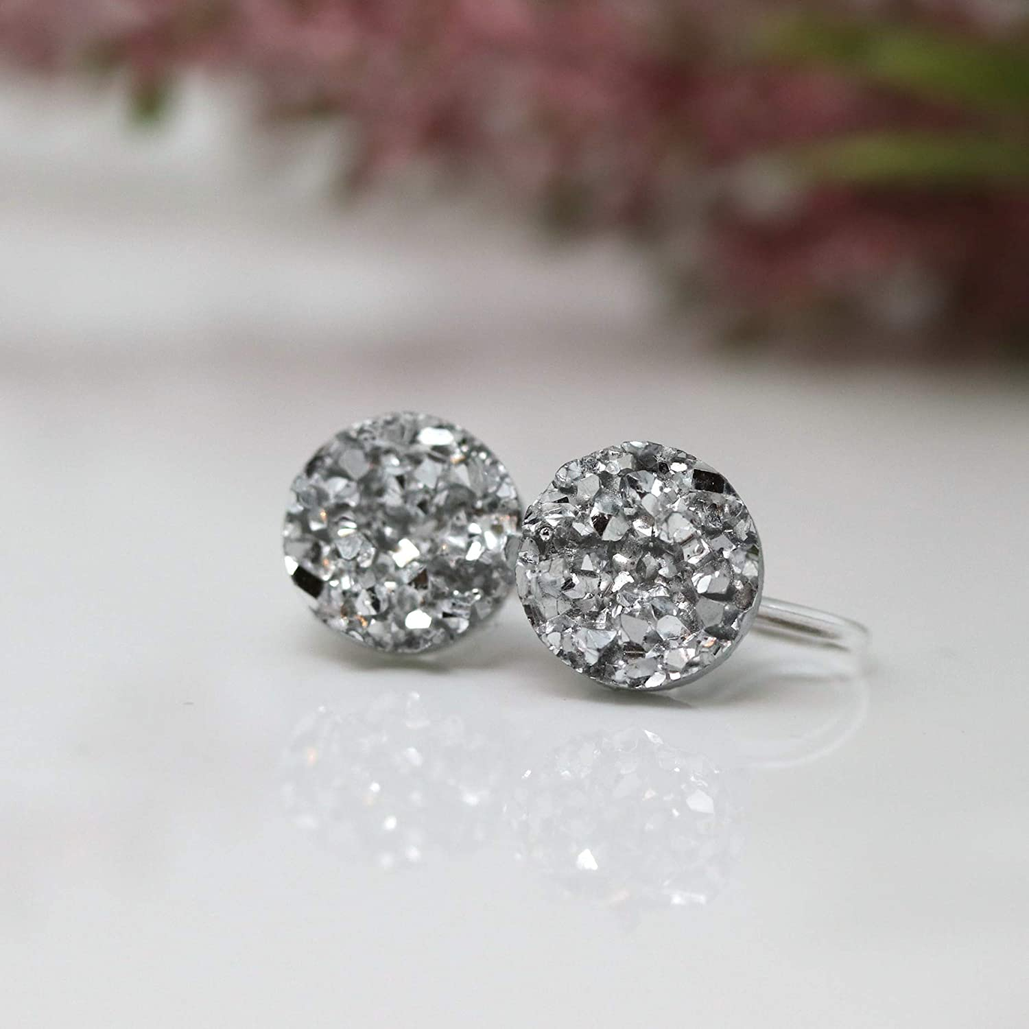 Invisible Clip On Faux Druzy Earrings for Non-Pierced Ears Silver-tone 10mm