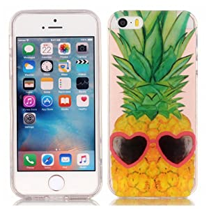Iphone 5S Skin Case, Apple iphone 5 TPU Case - Funny Pineapple Pattern Soft TPU Gel Slim Transparent Clear Back Protective Skin Cover Scratch-proof for Apple iphone 5 iphone 5S