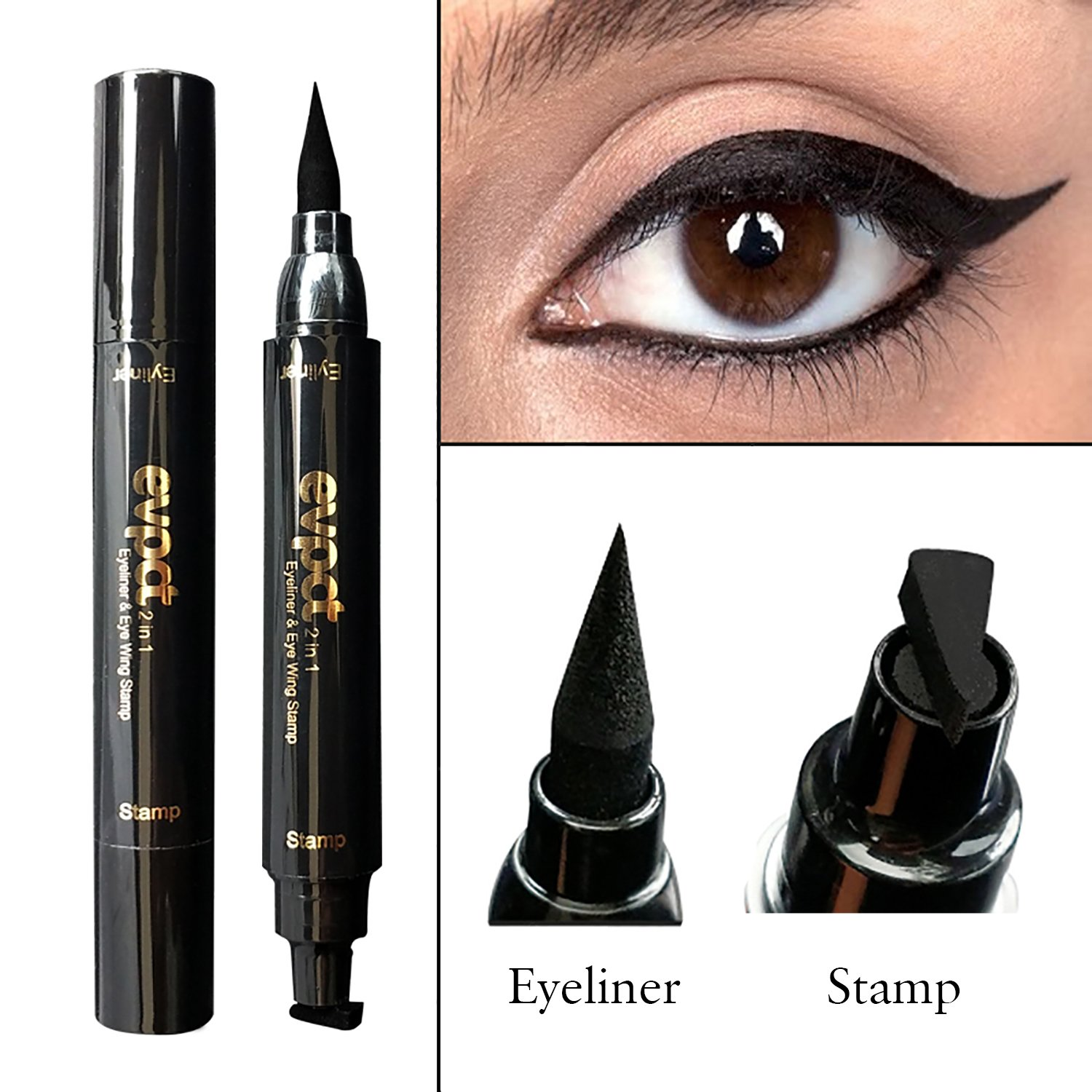 Eyeliner Stamp –2 in 1 Winged eyeliner stamp and Liquid Eyeliner Pen,waterproof, smudgeproof, winged long lasting liquid eye liner pen, Vamp style wing, No Dipping required by AsaVea
