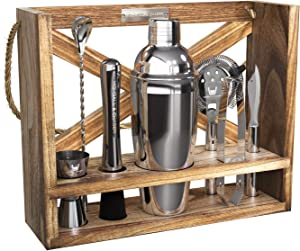 Highball & Chaser Rustic Hanging Bartender Kit 25oz Cocktail Shaker Bar Set For Home Bars, Bar Carts and Drink Making. Bar Tools and Barware for Entertaining (Silver)