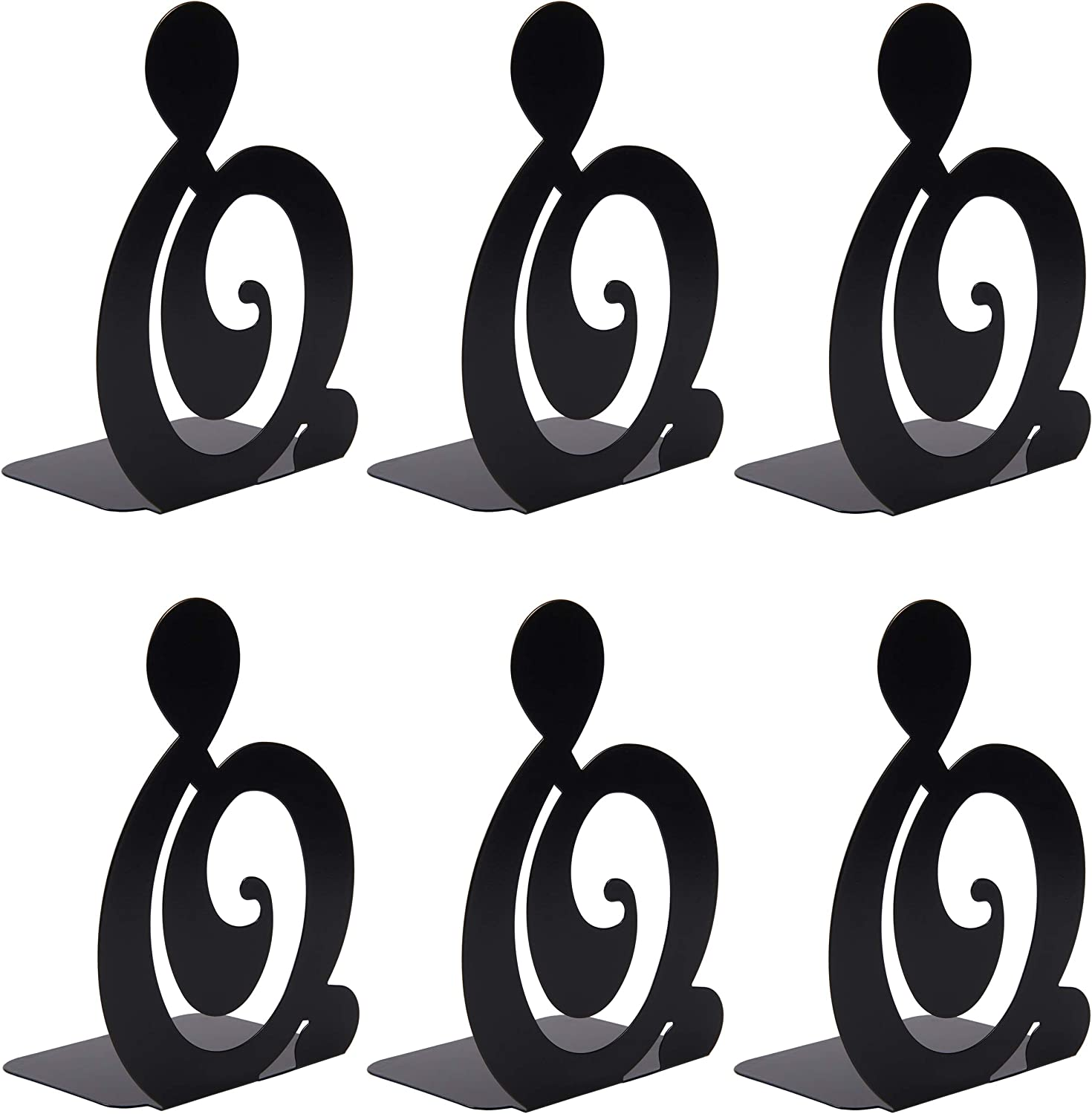 WUWEOT 3 Pair/6 Piece Book Ends, Metal Iron Decorative Heavy Duty Bookends, Black Book Support Book Stopper for School, Home or Office, 7.6 x 4.9 x 4 Inches