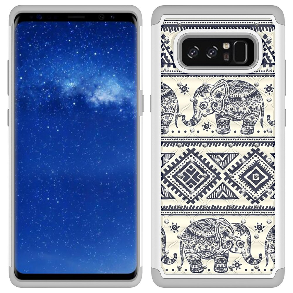 Note 8 Case, Galaxy Note 8 Case, MagicSky [Shock Absorption] Studded Rhinestone Bling Hybrid Dual Layer Armor Defender Protective Case Cover for Samsung Galaxy Note 8 (Elephant)
