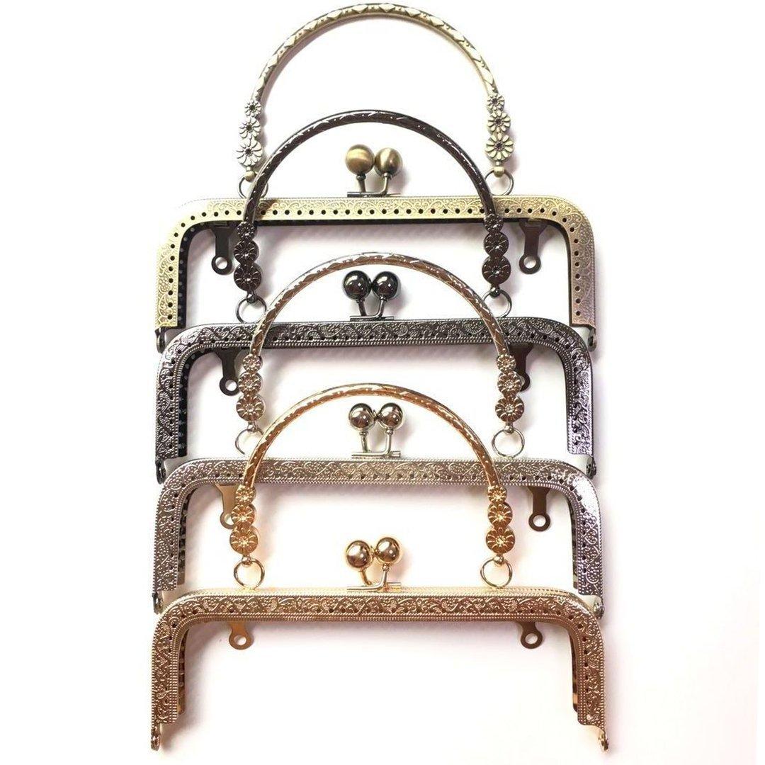 Amazon.com  GuoFa Best Seller 18CM Vintage Clutch Kiss Clasp Purse Frame  for Sewing Bag Accessories Parts Metal Handbag 4PCS f6170e4cb9007