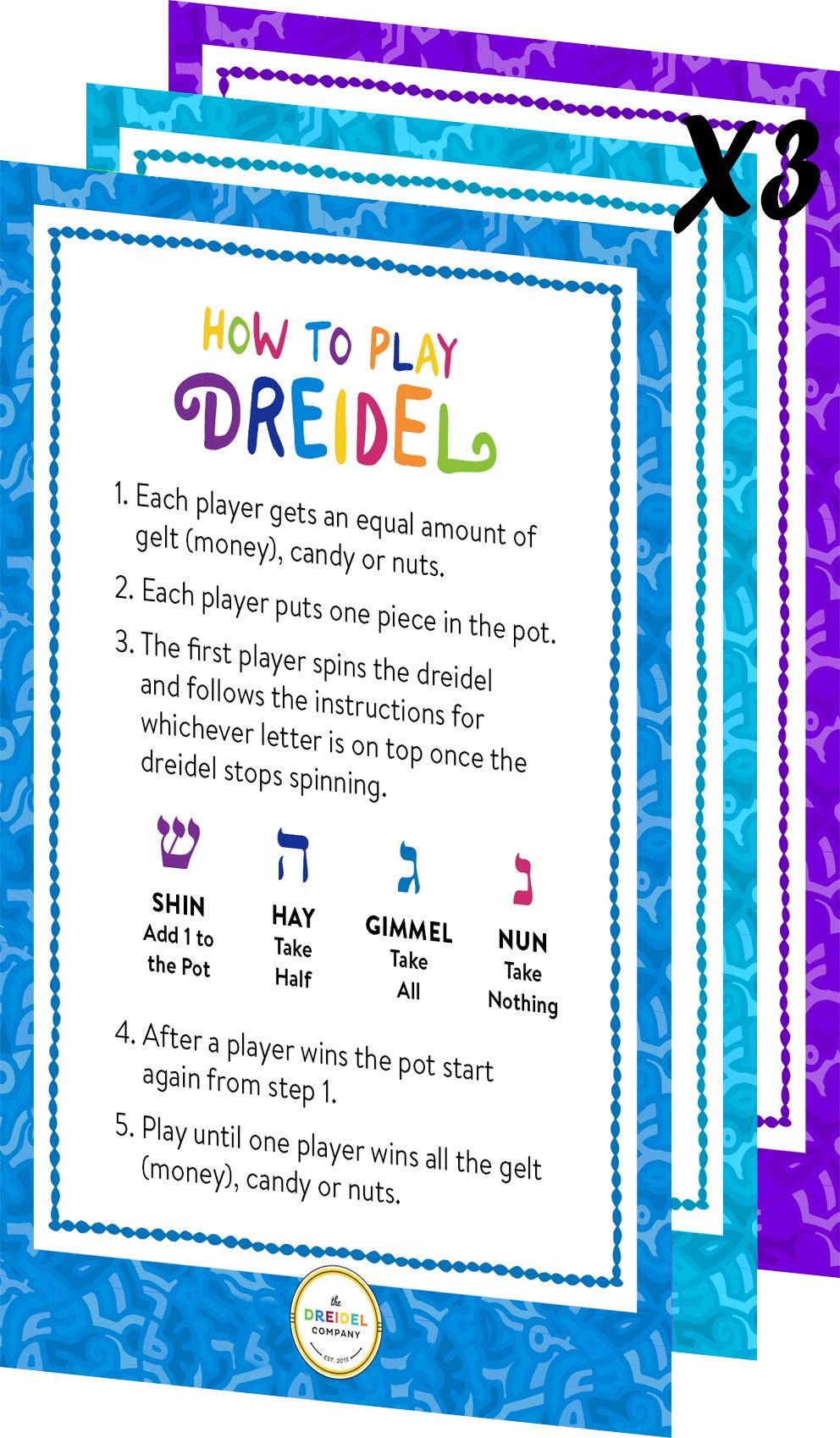 Hanukkah Dreidels Metallic Multi-Colored Draydels with English Translation - Includes 3 Dreidel Game Instruction Cards (30-Pack) by The Dreidel Company (Image #4)