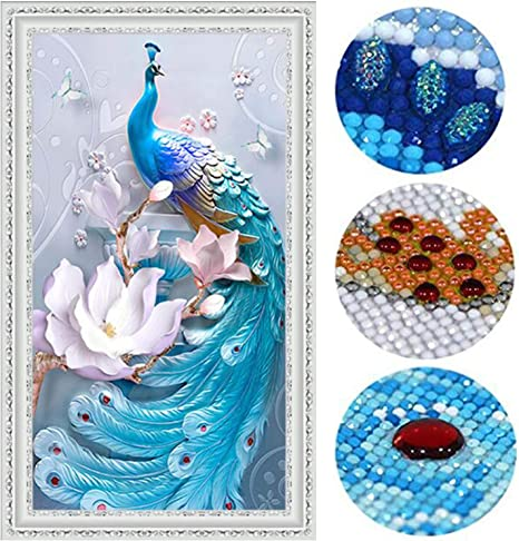 45X80CM Love of Peacock Diamond Painting Kits for Adults 18X32 Full Drill 5D DIY Paint-by-Number Kits with Diamonds for Home Wall Decors