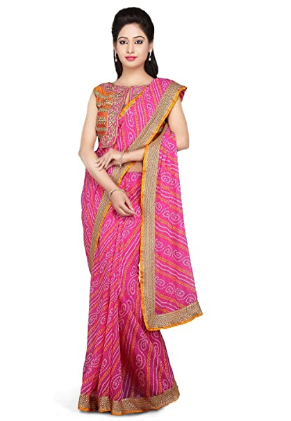 8aac17c164 Rajasthani Look Women's Bandhej Printed Georgette Saree in Pink: Amazon.in:  Clothing & Accessories