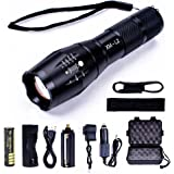 1000 Lumen Tactical Flashlight FYHAP Adjustable Focus and 5 Light Modes Outdoor Waterproof Handheld Ultra LED Flashlights with Rechargeable 18650 Battery and Car Charger
