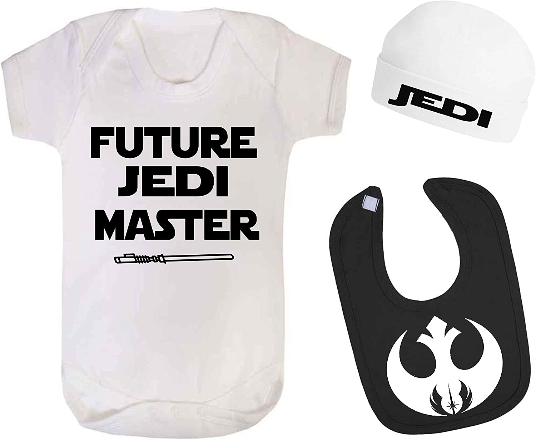 6-12 Months Future Jedi Master Star Wars Baby Vest Hat and Bib Set Baby Shower Gift Novelty Baby Gift