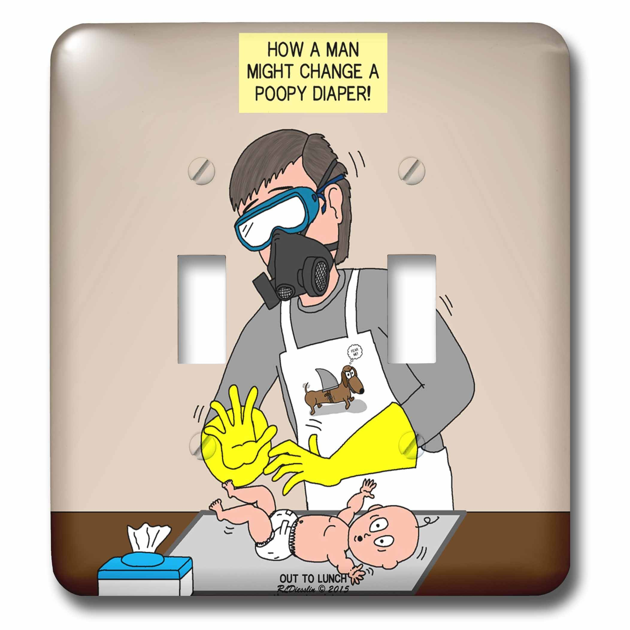 Rich Diesslins Funny Out to Lunch Cartoons - A Male Approach to Changing a Poopy Diaper aka Daddy Diaper Duty - Light Switch Covers - double toggle switch (lsp_235472_2) by 3dRose
