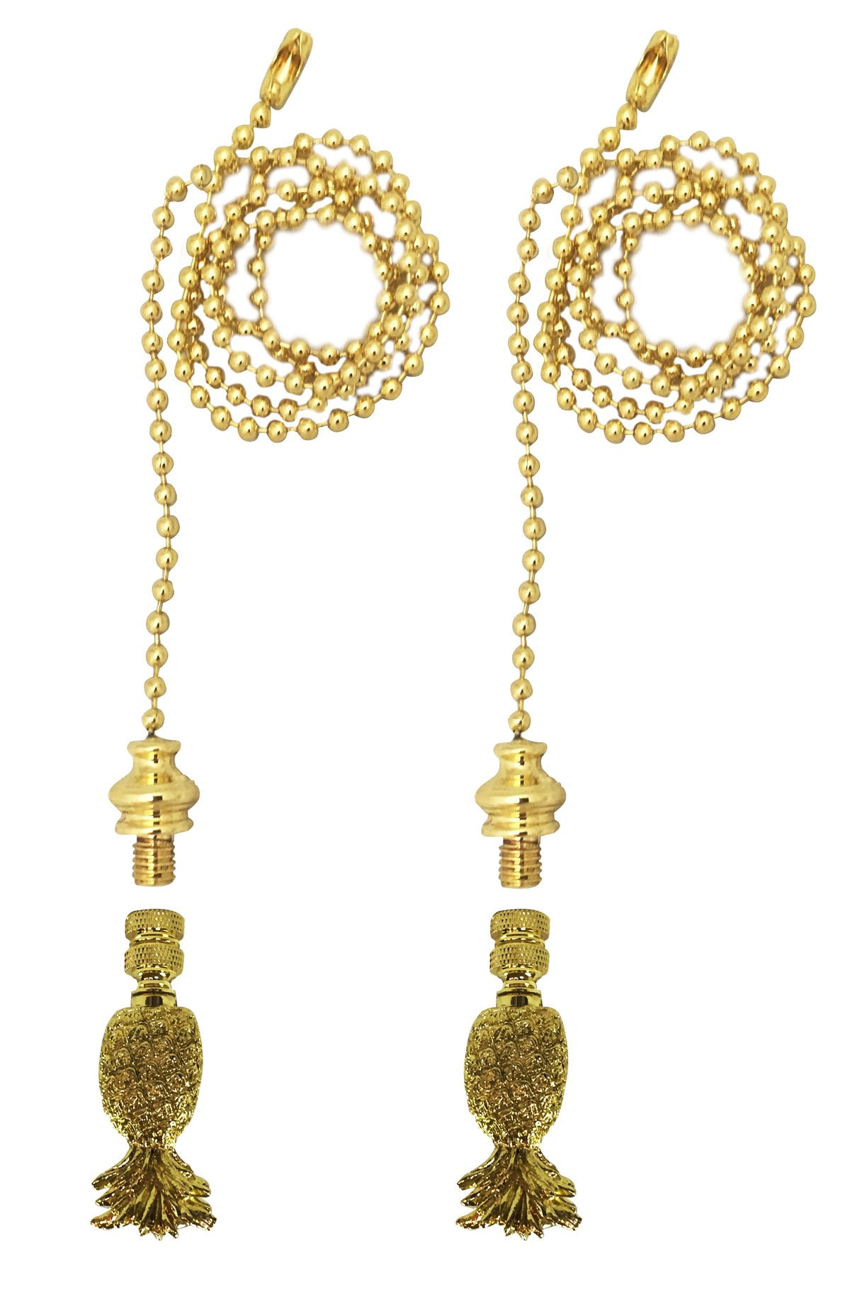 Royal Designs Fan Pull Chain with Trendy Resort Pineapple Finial – Polished Brass – Set of 2