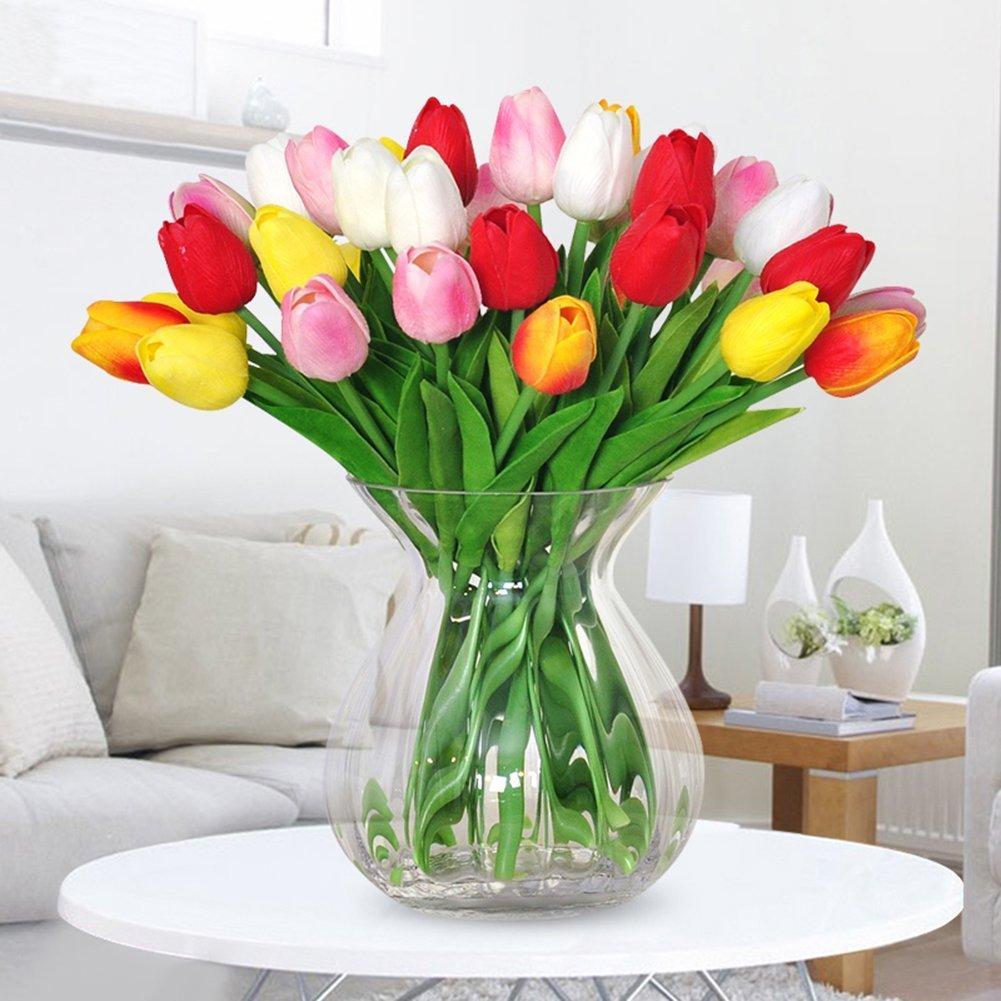 Pelle artificiale tulipano fiori per casa bouquet da sposa da cucina tavolo da pranzo soggiorno decorazione set di 25 Multi