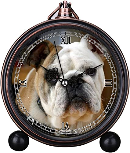 GIRLSIGHT Vintage Retro Living Room Decorative Non-Ticking, HD Glass Lens, Quartz, Analog Large Numerals Bedside Table Desk Alarm Clock Cute Cat Dog Series -215.English Bulldog