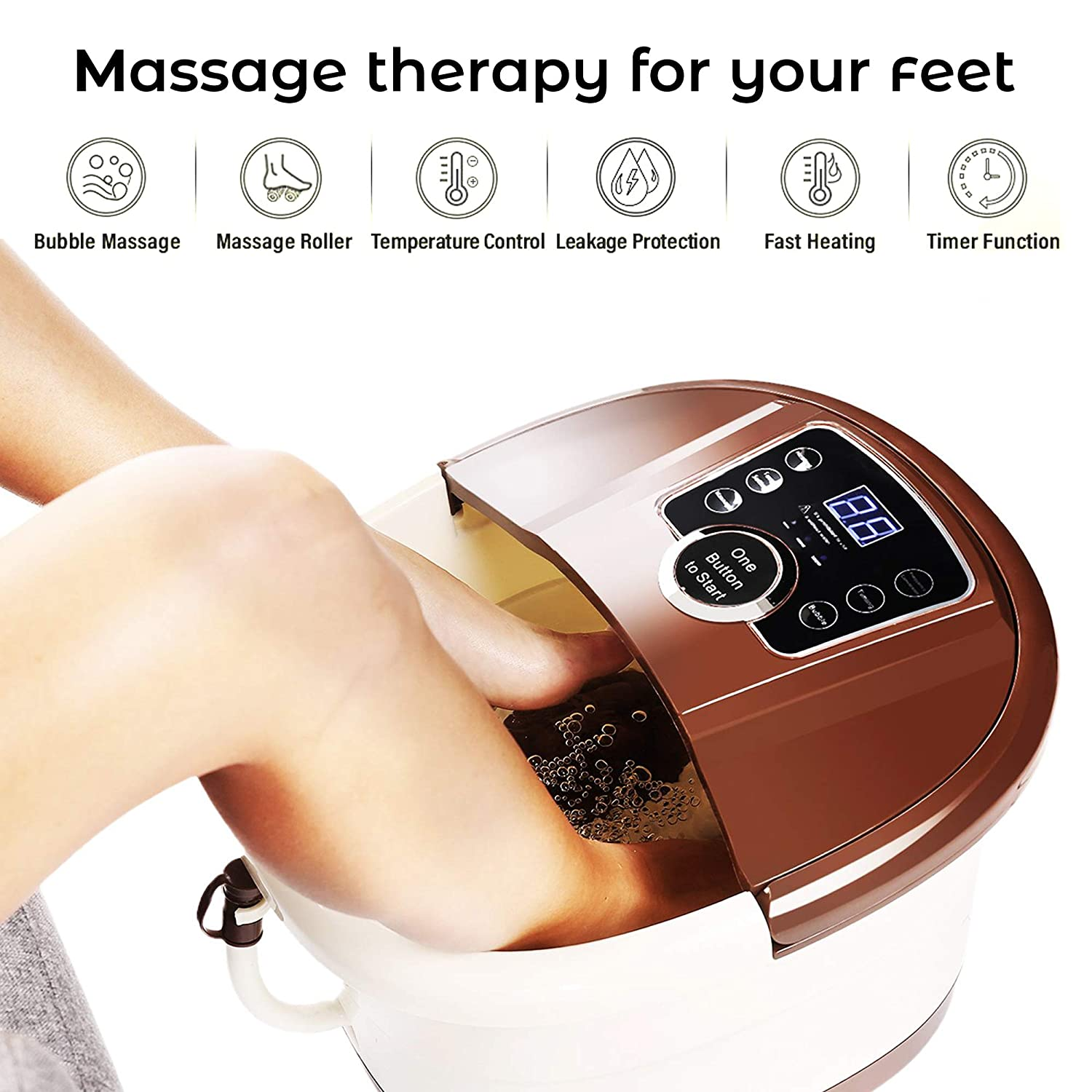 Foot Spa Massager with Heat and Jets and Motorized Rollers – Heating, Rolling Massage, Shiatsu Feet Massage – Home Spa Bath