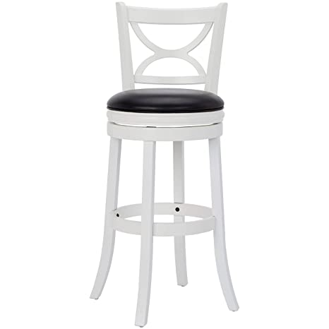Magnificent Ball Cast Jayden Hardwood Bar Height Swivel Bar Stool With Faux Leather Upholstery 29 Inch Farmhouse White Dailytribune Chair Design For Home Dailytribuneorg