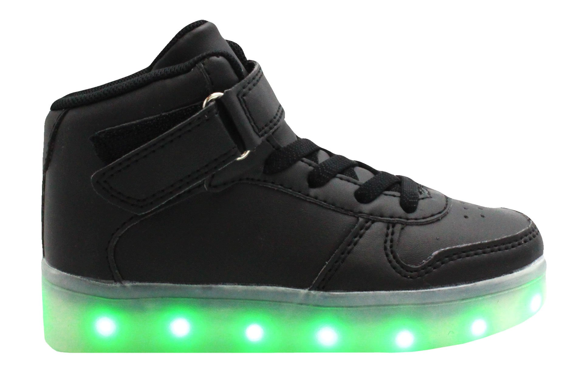 Transformania Toys Galaxy LED Shoes Light Up USB Charging High Top Lace & Strap Kids Sneakers(Black) 11
