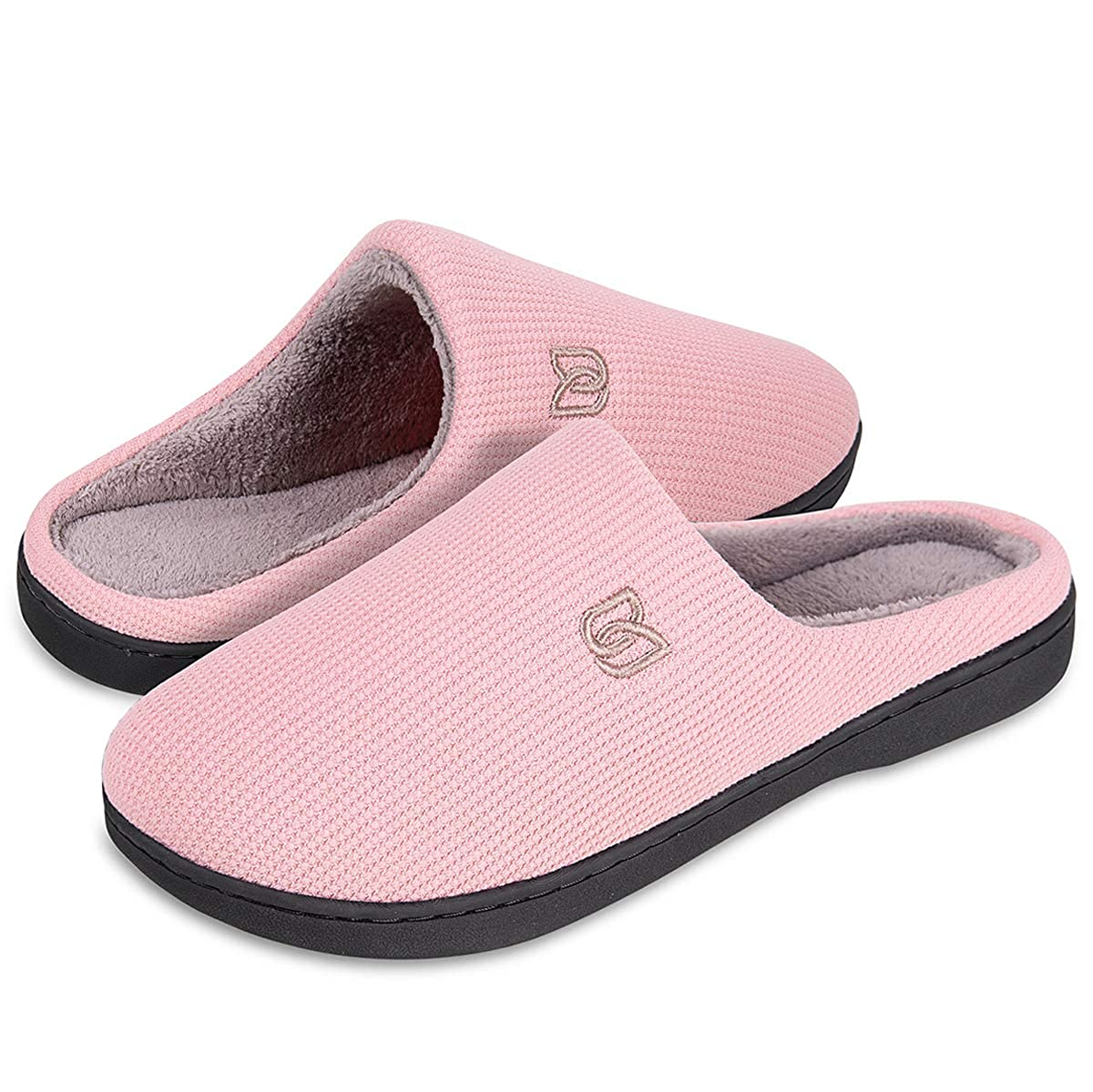 Men's Slippers Memory Foam Classic Two Tone House Slippers