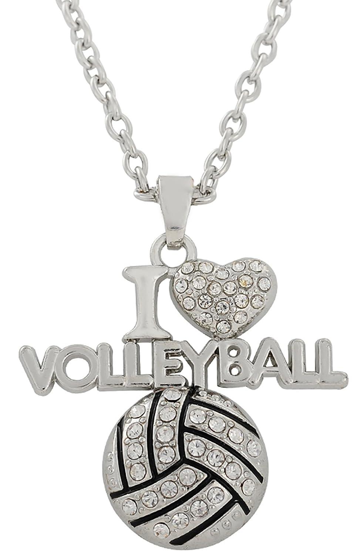 I love VOLLEYBALL Charm Crystal Anhä nger Halskette fü r Sport Fan Schmuck BiChuang B075P3XV3W_US