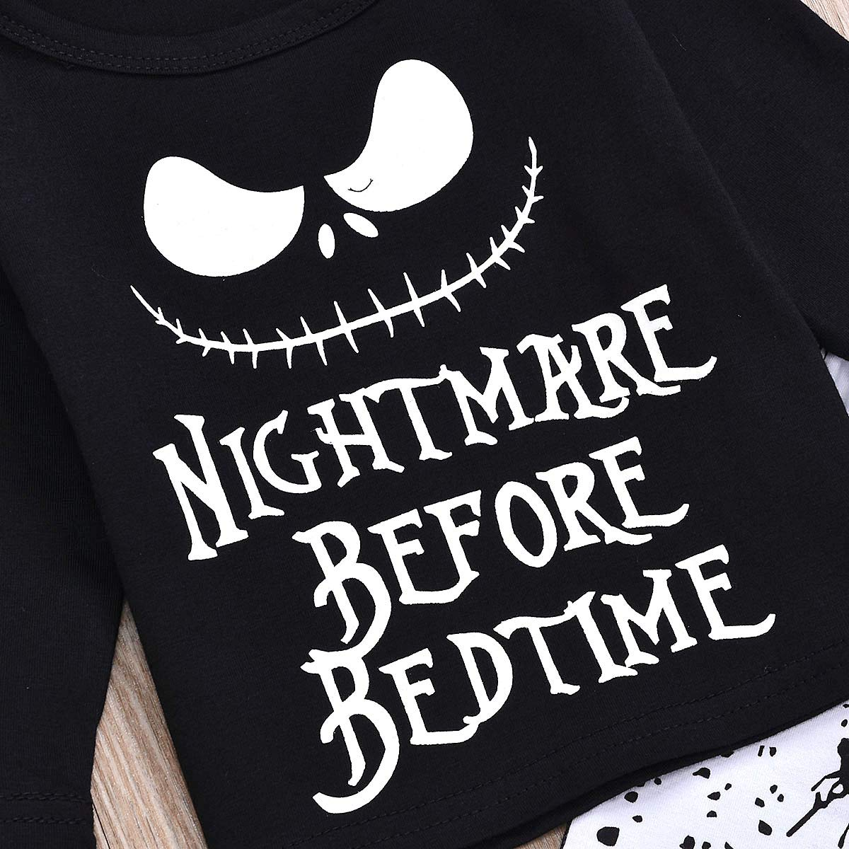 FUTERLY 2PCs Baby Pajamas Set Toddler Infant Boys Girls Clothes Nightmare Before Bedtime Long Sleeve T-Shirt Tops Skull Pants Christmas Claus Outfit Set