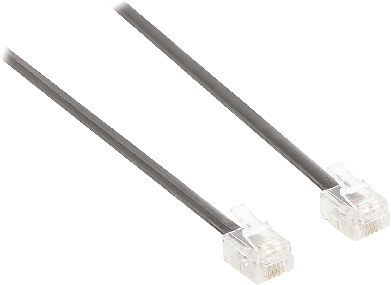 Black Valueline 2.00 m RJ11 Male to Male Telecom Cable