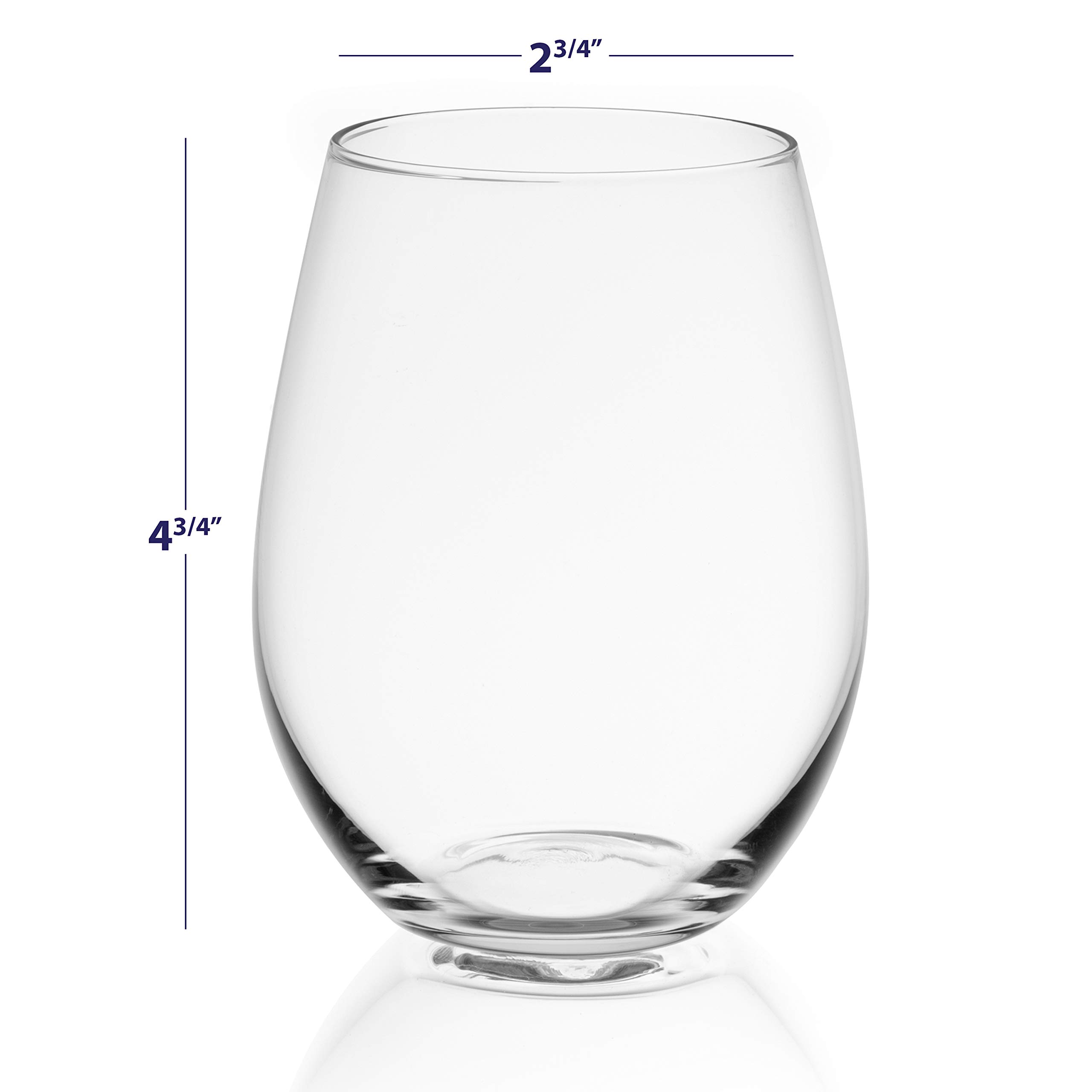 JoyJolt Spirits Stemless Wine Glasses for Red or White Wine (Set of 4)-19-Ounces by JoyJolt (Image #4)