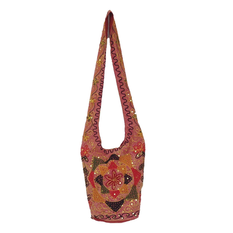 Rajasthani Zari Sequins Thread Embroidered Stylish Cotton Jhola Bag