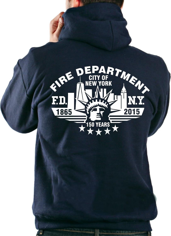 150/Anni dei Vigili del Fuoco di New York feuer1 Felpe con Cappuccio FDNY 150/Years 1865/ /2015/