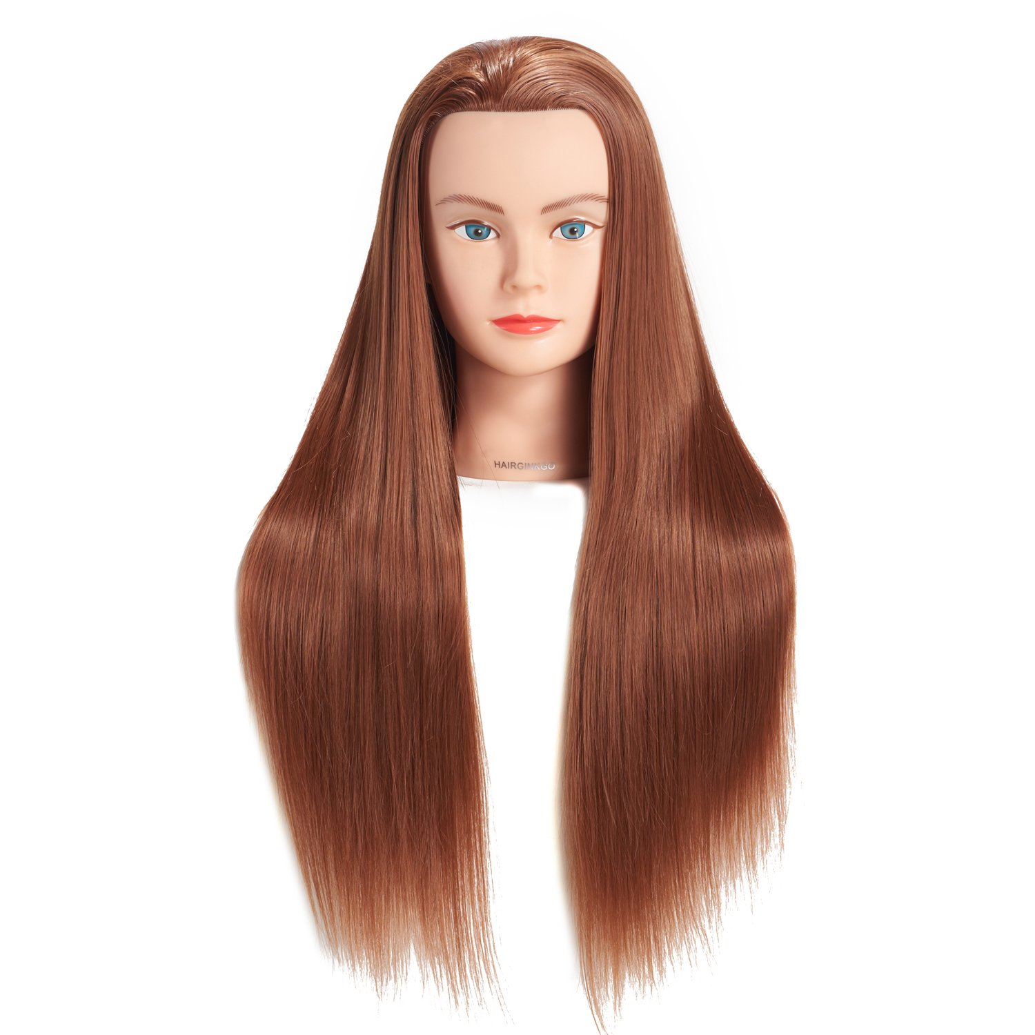 Hairginkgo 26-28 Super Long Cosmetology Mannequin Manikin Synthetic Fiber Training Head Doll Head with Clamp (black)