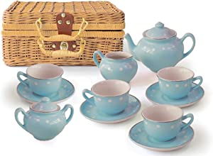 MMP Living Children's 13 Piece Porcelain Play Tea Set with Wicker-Style Basket - Blue