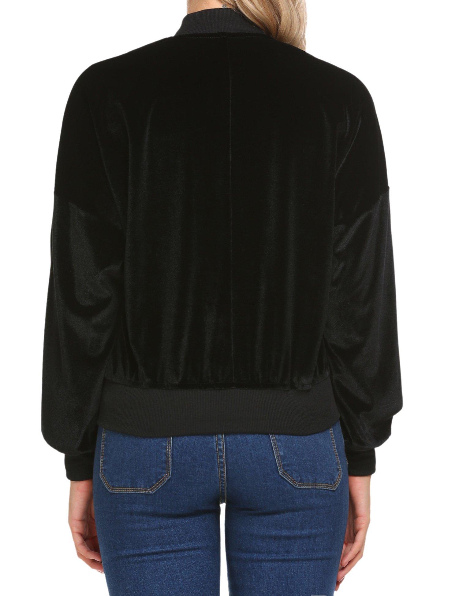 Beyove Women's Lightweight Velvet Coat Hooded Active Outdoor Windbreaker Jacket Black S by Beyove (Image #5)
