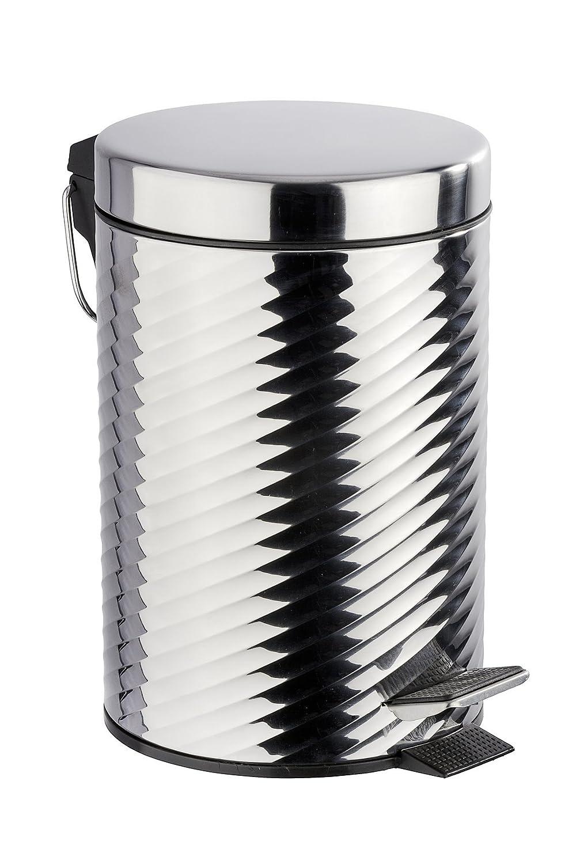 Wenko Cubo con Pedal para Cosmética 3 L, Acero Inoxidable, Plata Brillante, 22x17x26 cm