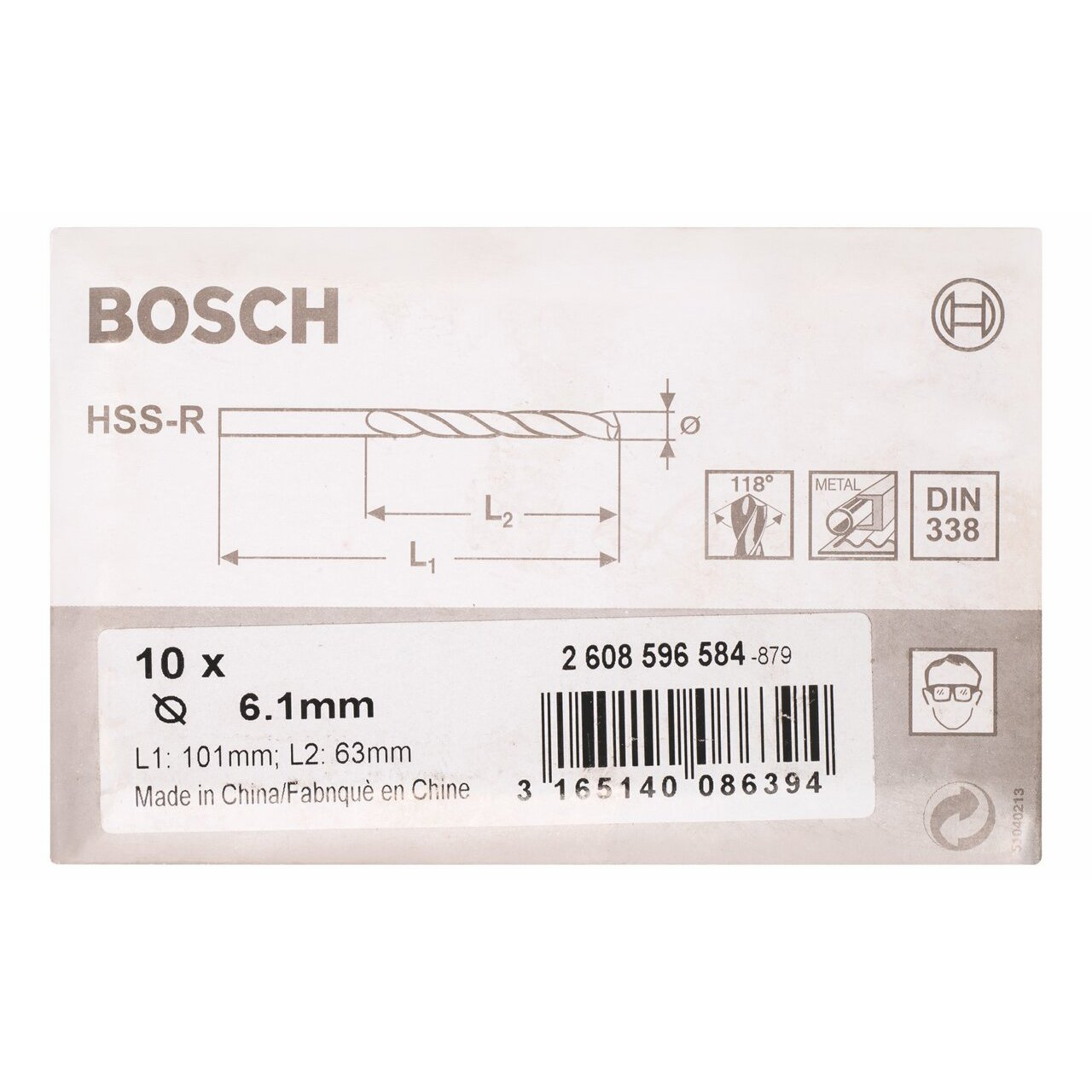 DIN 338 Bosch 2608596571 Metal Drill bits HSS-R