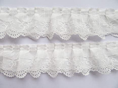 Lovely ruffled lace trim 1 inch wide = selling by the yard //select color//