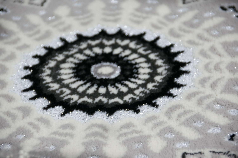 Traum Moderner Teppich Designer Teppich Orientteppich Orientteppich Orientteppich mit Glitzergarn Wohnzimmer Teppich mit Klassisch Orientalischen Kreis Ornamente in Creme Grau Schwarz Größe 200x280 cm a462db