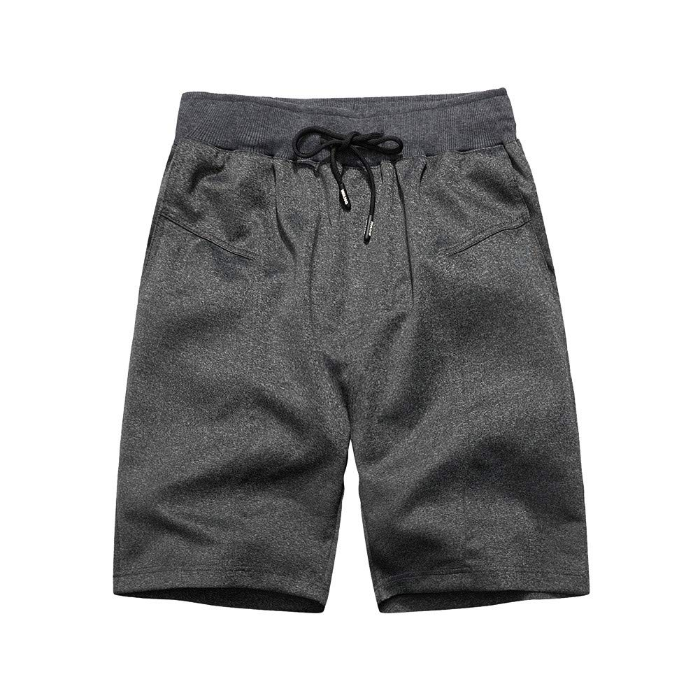 NUWFOR Fashion Men's Casual Plain Color Sports Shorts Home Pants(Dark Gray,US:S/AS:XL Waist:29.9''