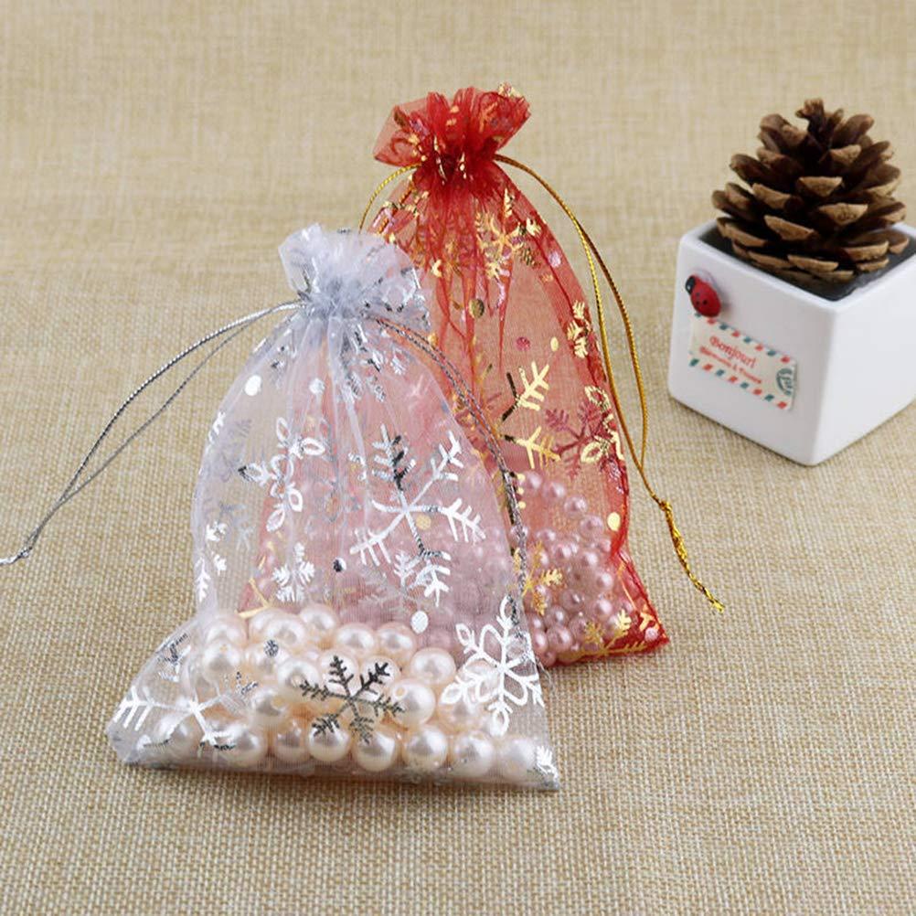 HEALIFTY 50pcs sacchetti di festa di Natale Fiocco di neve sacchetti di gioielli con coulisse regalo borsa per feste per limballaggio di nozze di compleanno